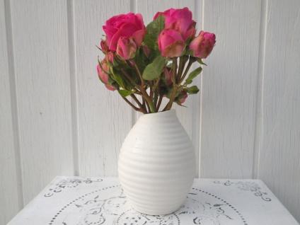 Vase HAPPY weiß 13, 5cm Blumenvase Keramik skandinavische Deko Hochzeit Tischdeko