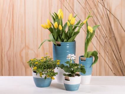 Vase ELLA blau weiß 24 cm Keramik Blumenvase Skandinavische Deko - Vorschau 3
