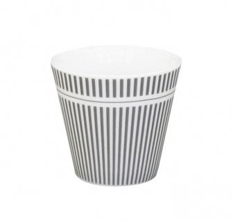 Krasilnikoff Espresso Tasse STREIFEN Grau Porzellan weiß Nadelstreifen 80 ml