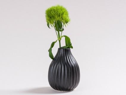 Vase ANNE schwarz Keramik Blumenvase 12cm Deko Geschenk Tischdeko Design Klassik