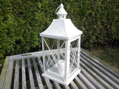 Laterne Viktoria groß Vintage Look Metall, creme weiß, Windlicht 40 cm Gartenlat