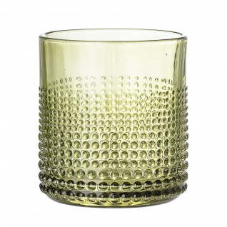 Bloomingville Glas Grün gepunktet Trinkglas Wasserglas 300 ml Saftglas Tumbler