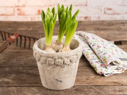 Pflanztopf ROSES 16 cm Zement Beige Blumentopf Rosen Muster Vintage Design