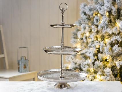 Etagere DORIA 48 cm Rund Metall Silber 3 Etagen Tischdeko Hochzeitsdeko