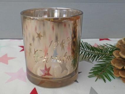 Windlicht Glas KUPFER 100% Christmas 10 cm STERNE Weihnachtsdeko Teelichtglas