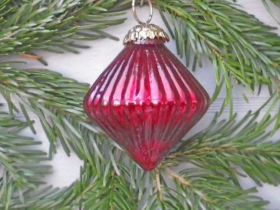 Hänger Kreisel Rubin rot glänzend Christbaum Schmuck Tannenbaumkugel Weihnachten