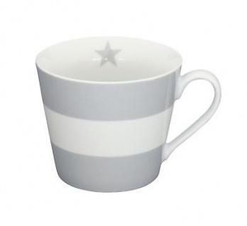 Krasilnikoff Happy Cup Henkel Becher BLOCKSTREIFEN hellgrau Porzellan Tasse