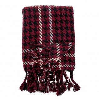 Bloomingville Decke RIVEL Rot Recycelt Baumwolle 130x150 Wolldecke Kuscheldecke