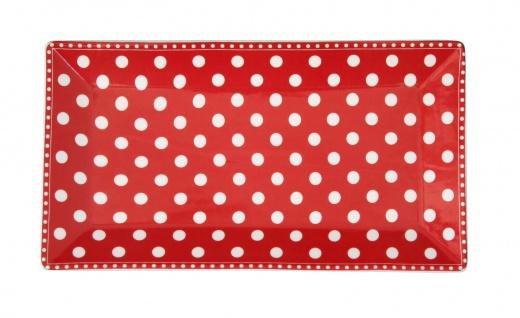 Krasilnikoff Tablett Teller PUNKTE Rot Weiß Porzellan Teller eckig 14x25 cm