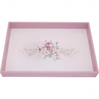 Greengate Tablett MARIE DUSTY ROSE Weiß 31x45 cm Serviertablett Holz