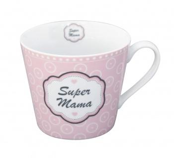 Krasilnikoff Tasse Happy Cup SUPER MAMA rosa Becher Porzellan Kaffeebecher