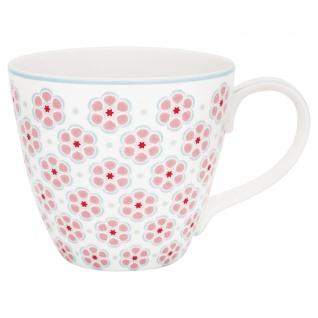 Greengate Becher LEAH Pale Pink Rosa Porzellan Tasse Henkel Kaffeebecher 300 ml