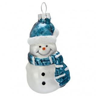 Greengate Tannenbaumhänger SCHNEEMANN Blau Weiß Weihnachtsmann Weihnachtskugel