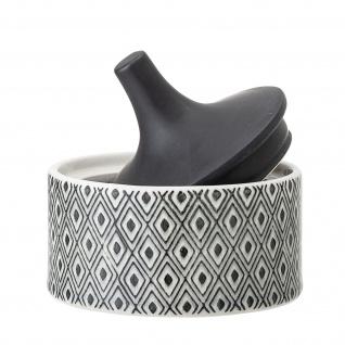 Bloomingville Dose mit Deckel Schwarz Weiß 200ml Keramik Vorratsdose Schmuckdose