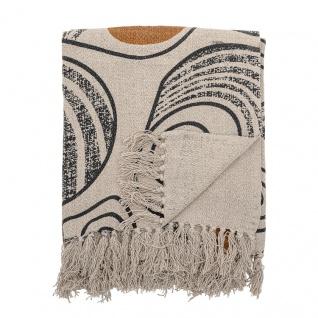 Bloomingville Decke Natur Schwarz Gelb Recycelt Baumwolle 130x160 Wolldecke
