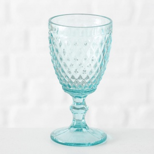 Weinglas Milano 250 ml Rauten türkis grün Trinkglas grünes Glas 17 cm