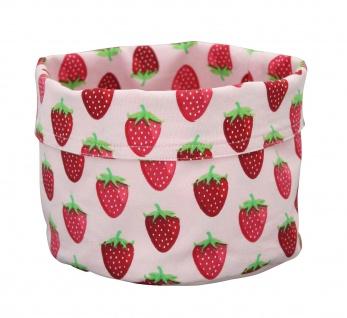Krasilnikoff Brotkorb Groß ERDBEERE rosa Baumwolle rote Erdbeeren Tischkorb