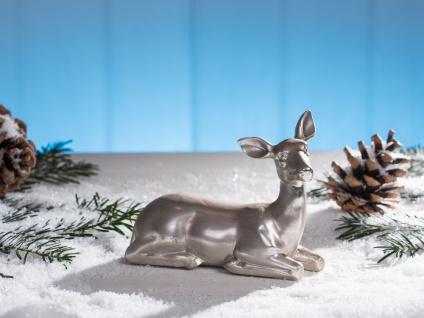 Deko Aufsteller REH silber Weihnachtsdeko Dekofigur Tischdeko Weihnachten