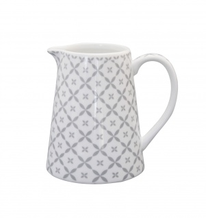 Krasilnikoff Milchkännchen DIAGONAL hellgrau weiß Muster grau Porzellan