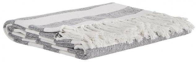 IB Laursen Plaid Streifen weiß/schwarz mit Fransen Baumwolle Tagesdecke Wolldeck