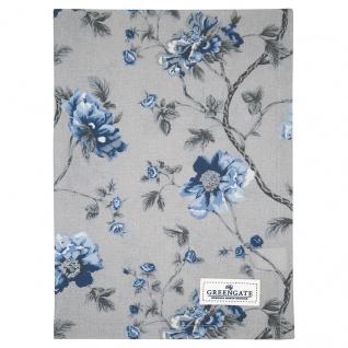 Greengate Geschirrtuch CHARLOTTE Grau mit Blumen Baumwolle 50x70 cm Küchentuch