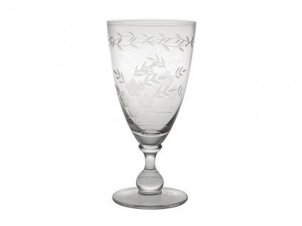 Greengate Weinglas mit Muster geschliffen Groß Rotwein Glas Trinkglas