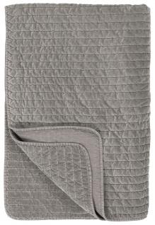IB Laursen Quilt SAMT GRAU SMOKE Velour Decke 130x180 Kuscheldecke Tagesdecke