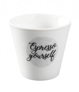 Krasilnikoff Espresso Tasse ESPRESSO YOURSELF weiß grau Porzellan Becher 80 ml
