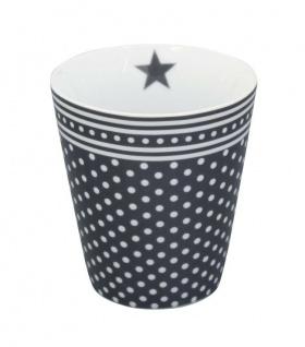 Krasilnikoff Happy Mug Becher MICRO DOTS Dunkelgrau Punkte Kaffeebecher Tasse
