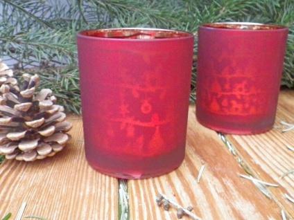 Windlicht X-MAS Rot 10 cm Teelichtglas 2er Set Weihnachtsdeko Glas Weihnachten