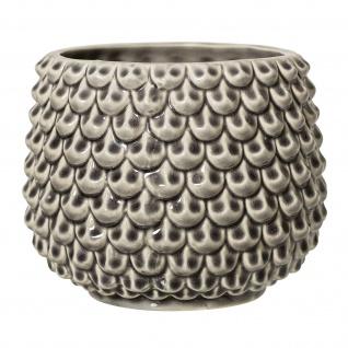 Bloomingville Blumentopf Grau Keramik 16 cm Übertopf Tropfen Fächer Design Deko