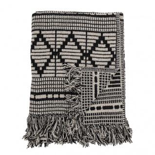 Bloomingville Decke Schwarz Grau Recycelt Baumwolle 130x160 Wolldecke Fransen