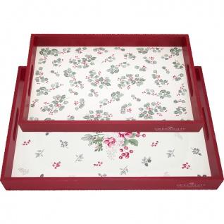 Greengate Tablett Set CHARLINE Weiß Rot 2er Set Serviertablett Holz