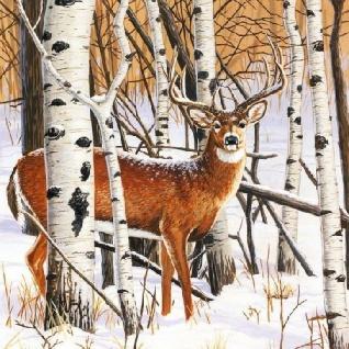 Ambiente Servietten DEER IN FOREST Weihnachten Hirsch Birken Wald 20 Stk 33x33