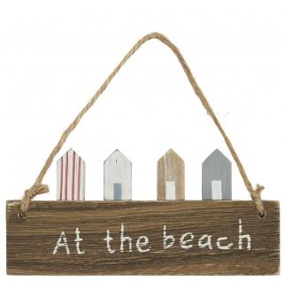 IB Laursen Holzschild - At the Beach - Deko Schild zum Aufhängen 7x15 cm