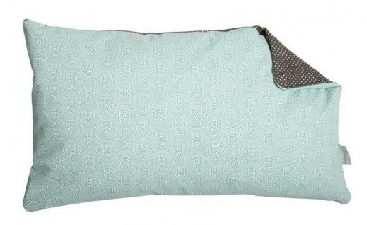 A.U Maison - Kissen mit Füllungdunkelgrau Punkte türkis Muster 30x50 Baumwolle