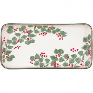 Greengate Tablett Teller SCARLETT Weiß 12x24 cm Eckig Porzellan Geschirr