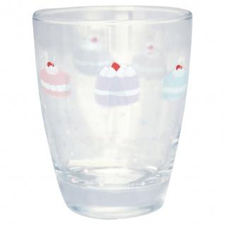 Greengate Glas MADELYN Wasserglas 300 ml Trinkglas Saftglas mit bunten Torten