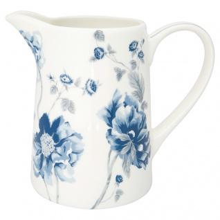Greengate Krug CHARLOTTE Weiß Blau 1 Liter Kanne Porzellan Geschirr Karaffe