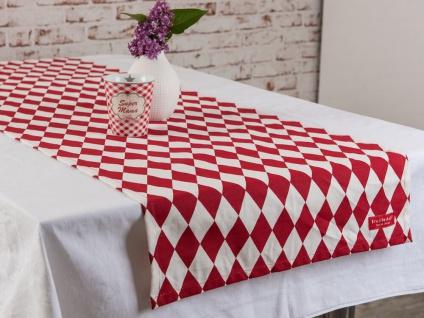 Krasilnikoff Tischläufer HARLEKIN Rot Tischdecke weiß rote Rauten Karos