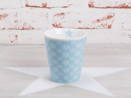 Krasilnikoff Happy Mug Becher BLUME DIAGONAL Blau weiß Blumen Stern hellblau