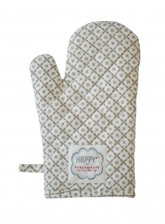Krasilnikoff Ofenhandschuh DIAGONAL Taupe Baumwolle grau weiß