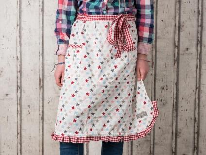 Krasilnikoff Küchenschürze STARS Multi weiß STERNE bunt Kochschürze Baumwolle