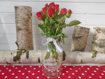 Vase FLOWERS & GARDEN Blumenvase Glas 20cm Schleifenband grau weiß Deko Romantik