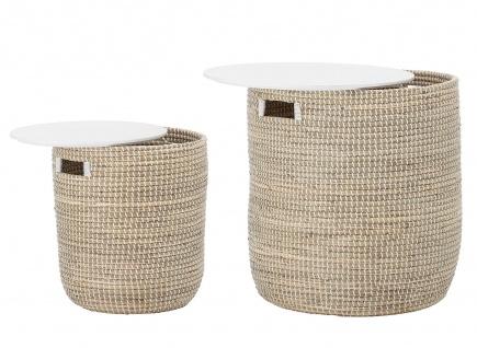 Bloomingville 2er Tisch Set Korb Seegras natur weiß mit Stauraum Beistelltisch
