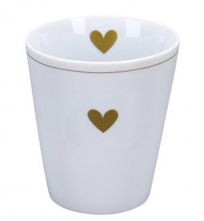 Krasilnikoff Becher Happy Mug Weiss mit HERZ Gold Kaffeebecher 250 ml Tasse