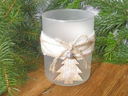 Windlicht OLINE Weiß Matt 13 cm Glas Holz TANNENBAUM Weihnachtsdeko Weihnachten - Vorschau 2