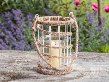 Windlicht Hänger HOOGE Glas Metall weiß mit Kordel Teelichtglas Maritim Deko