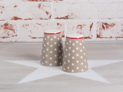 Krasilnikoff Salz & Pfeffer Streuer Sterne taupe Porzellan sand weiß Stern