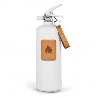 Nordic Flame FEUERLÖSCHER WEISS m. Leder Hell 2 Kg ABC Pulver Design Brandschutz